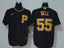 Mens Mlb Pittsburgh Pirates #55 Josh Bell Black Cool Base Nike Jersey
