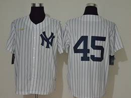 Mens Mlb New York Yankees #45 Gerrit Cole White Stripe Cool Base Gold Logo Nike Jersey  No Name