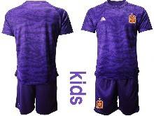 Kids Soccer Spain National Team ( Custom Made ) Purple Eurocup 2021 Goalkeeper Short Sleeve Suit Jersey
