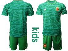 Kids Soccer Spain National Team ( Custom Made ) Green Eurocup 2021 Goalkeeper Short Sleeve Suit Jersey