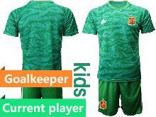 Kids Soccer Spain National Team Current Player Green Eurocup 2021 Goalkeeper Short Sleeve Suit Jersey