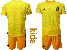 Kids Soccer Spain National Team ( Custom Made ) Yellow Eurocup 2021 Goalkeeper Short Sleeve Suit Jersey
