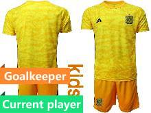 Kids Soccer Spain National Team Current Player Yellow Eurocup 2021 Goalkeeper Short Sleeve Suit Jersey