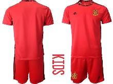 Kids Soccer Spain National Team ( Custom Made ) Red Eurocup 2021 Goalkeeper Short Sleeve Suit Jersey