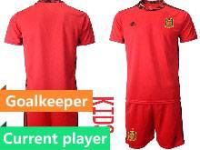 Kids Soccer Spain National Team Current Player Red Eurocup 2021 Goalkeeper Short Sleeve Suit Jersey