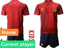 Kids Soccer Spain National Team Current Player Red Eurocup 2021 Home Short Sleeve Suit Jersey