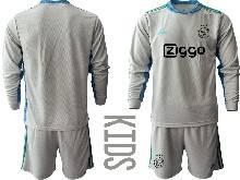 Kids 20-21 Soccer Afc Ajax Club ( Custom Made ) Gray Goalkeeper Long Sleeve Suit Jersey