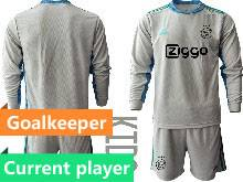 Kids 20-21 Soccer Afc Ajax Club Current Player Gray Goalkeeper Long Sleeve Suit Jersey