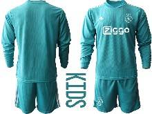 Baby 20-21 Soccer Afc Ajax Club ( Custom Made ) Blue Goalkeeper Long Sleeve Suit Jersey