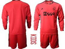 Kids 20-21 Soccer Afc Ajax Club ( Custom Made ) Red Goalkeeper Long Sleeve Suit Jersey