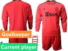 Baby 20-21 Soccer Afc Ajax Club Current Player Red Goalkeeper Long Sleeve Suit Jersey