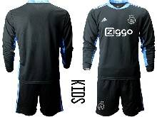 Baby 20-21 Soccer Afc Ajax Club ( Custom Made ) Black Goalkeeper Long Sleeve Suit Jersey