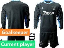 Baby 20-21 Soccer Afc Ajax Club Current Player Black Goalkeeper Long Sleeve Suit Jersey