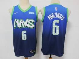 Mens Nba Dallas Mavericks #6 Kristaps Porzingis Light Blue 2020 City Edition Nike Swingman Jersey