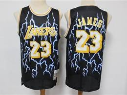 Mens Nba Los Angeles Lakers #23 Lebron James Black Lightning Mitchell&ness Hardwood Classics Limited Jersey