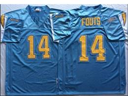 Mens Nfl San Diego Chargers #14 Dan Fouts Light Blue Mitchell&ness Throwback Jersey