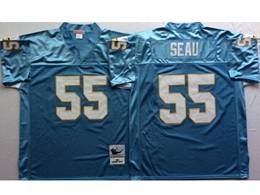 Mens Nfl San Diego Chargers #55 Junior Seau Light Blue Mitchell&ness Throwback Jersey