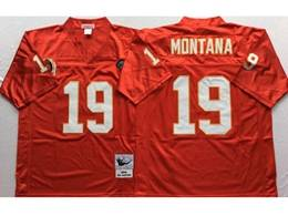 Mens Nfl Kansas City Chiefs #19 Montana Red Mitchell&ness Throwback Jersey