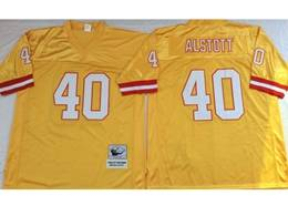 Mens Nfl Tampa Bay Buccaneers #40 Mike Alstott Yellow Mitchell&ness Throwback Jersey