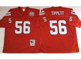 Mens Nfl New England Patriots #56 Tippett Red Mitchell&ness Throwback Jersey