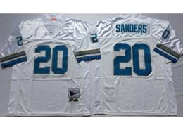 Mens Nfl Detroit Lions #20 Barry Sanders White Mitchell&ness Throwback Jersey