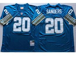 Mens Nfl Detroit Lions #20 Barry Sanders Blue Mitchell&ness Throwback Jersey