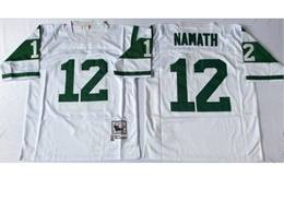 Mens Nfl New York Jets #12 Joe Namath White Mitchell&ness Throwback Jersey