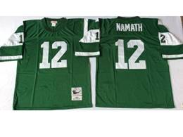 Mens Nfl New York Jets #12 Joe Namath Green Mitchell&ness Throwback Jersey