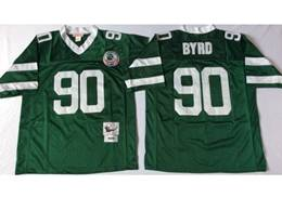 Mens Nfl New York Jets #90 Byrd Green Mitchell&ness Throwback Jersey