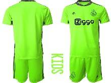 Kids 20-21 Soccer Afc Ajax Club ( Custom Made ) Green Goalkeeper Short Sleeve Suit Jersey