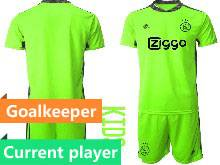 Kids 20-21 Soccer Afc Ajax Club Current Player Green Goalkeeper Short Sleeve Suit Jersey