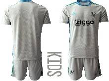 Kids 20-21 Soccer Afc Ajax Club ( Custom Made ) Gray Goalkeeper Short Sleeve Suit Jersey