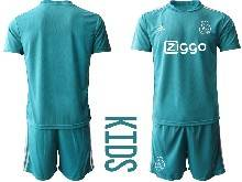 Kids 20-21 Soccer Afc Ajax Club ( Custom Made ) Blue Goalkeeper Short Sleeve Suit Jersey