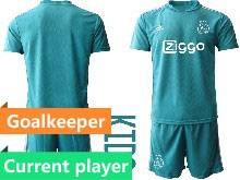 Kids 20-21 Soccer Afc Ajax Club Current Player Blue Goalkeeper Short Sleeve Suit Jersey