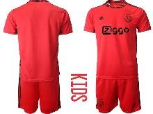 Kids 20-21 Soccer Afc Ajax Club ( Custom Made ) Red Goalkeeper Short Sleeve Suit Jersey