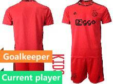 Baby 20-21 Soccer Afc Ajax Club Current Player Red Goalkeeper Short Sleeve Suit Jersey
