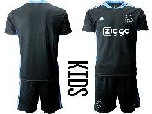 Kids 20-21 Soccer Afc Ajax Club ( Custom Made ) Black Goalkeeper Short Sleeve Suit Jersey