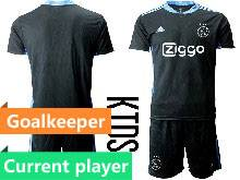 Kids 20-21 Soccer Afc Ajax Club Current Player Black Goalkeeper Short Sleeve Suit Jersey