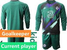 Kids 20-21 Soccer Chelsea Club Current Player Green Goalkeeper Long Sleeve Suit Jersey