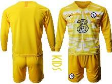 Kids 20-21 Soccer Chelsea Club ( Custom Made ) Yellow Goalkeeper Long Sleeve Suit Jersey