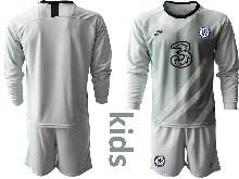 Kids 20-21 Soccer Chelsea Club ( Custom Made ) Gray Goalkeeper Long Sleeve Suit Jersey