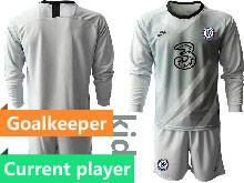 Kids 20-21 Soccer Chelsea Club Current Player Gray Goalkeeper Long Sleeve Suit Jersey
