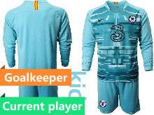 Kids 20-21 Soccer Chelsea Club Current Player Blue Goalkeeper Long Sleeve Suit Jersey
