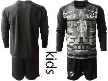 Kids 20-21 Soccer Chelsea Club ( Custom Made ) Black Goalkeeper Long Sleeve Suit Jersey