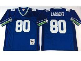 Mens Nfl Seattle Seahawks #80 Steve Largent Blue Mitchell&ness Throwback Jersey
