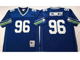 Mens Nfl Seattle Seahawks #96 Cortez Kennedy Blue Mitchell&ness Throwback Jersey