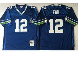 Mens Nfl Seattle Seahawks #12 Fan Blue Mitchell&ness Throwback Jersey
