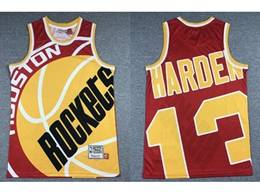 Mens Nba Houston Rockets #13 James Harden Red Printing Mitchell&ness Hardwood Classics Jersey