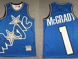 Mens Nba Orlando Magic #1 Tracy Mcgrady Blue Printing Mitchell&ness Hardwood Classics Jersey