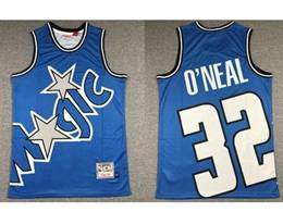 Mens Nba Orlando Magic #32 Shaouille O'neal Blue Printing Mitchell&ness Hardwood Classics Jersey